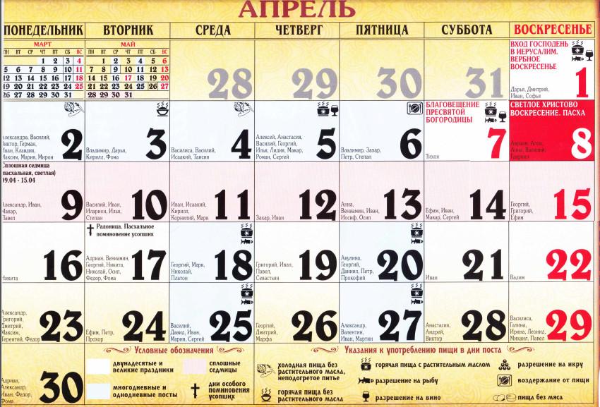 Церковный православный календарь на апрель 2018 года