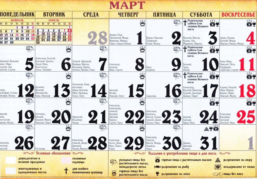 Календарь именины в марте