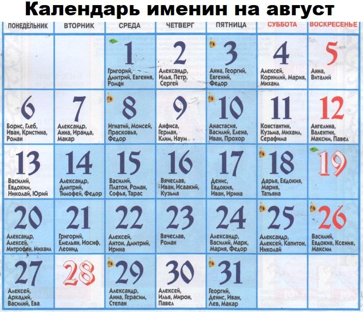 календарь православных имен на август