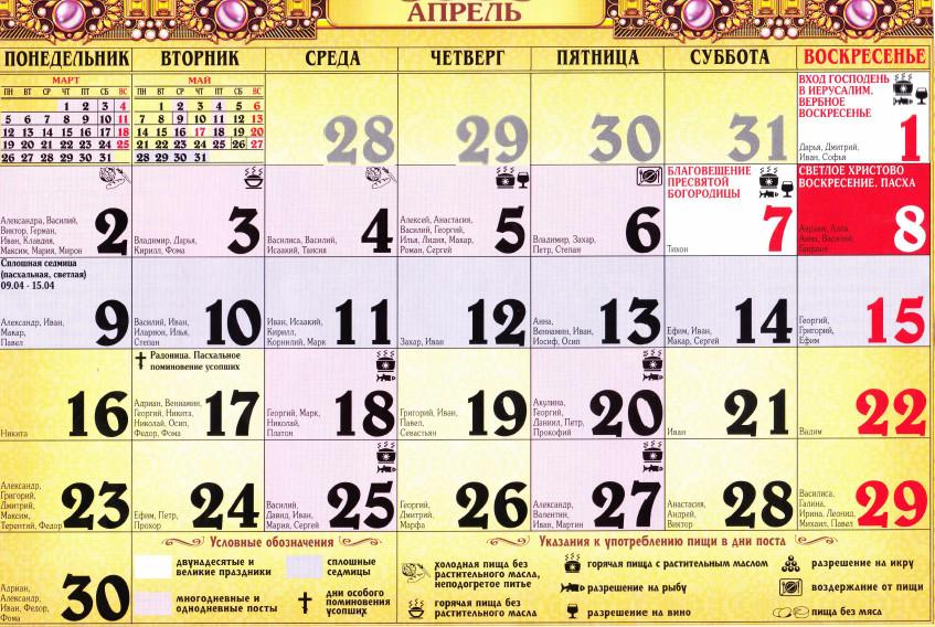 pravoslavniy kalendar na aprel 2018
