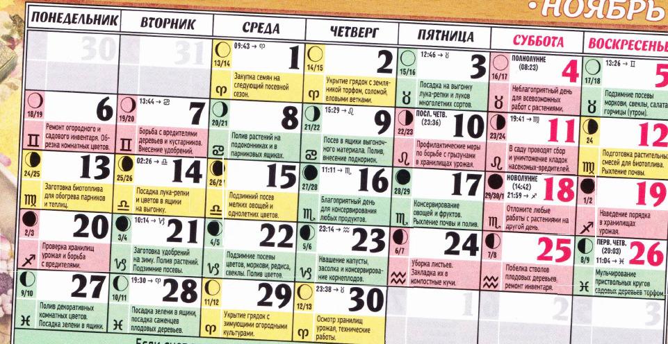 posevnoy kalendar november 2017
