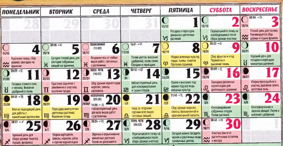 posevnoy kalendar september 2017