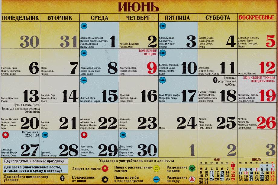 Календарь православных имен июнь