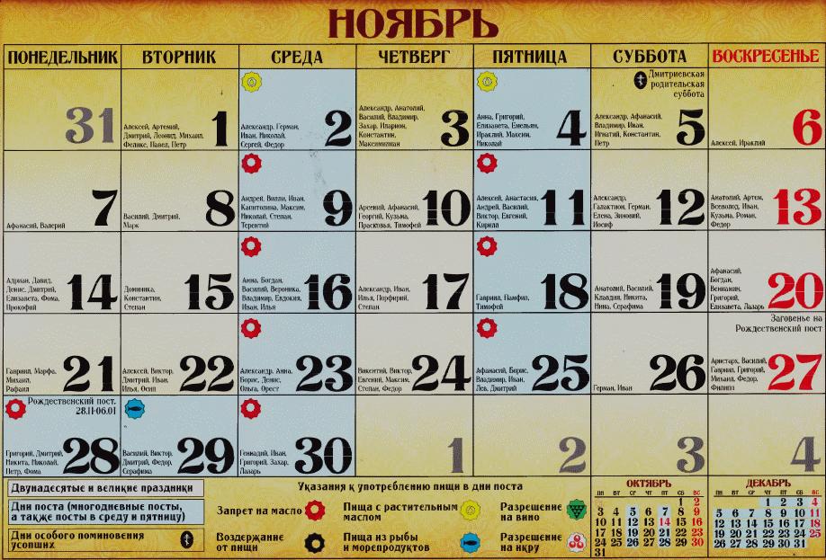 постное меню в церковные праздники